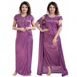 Lace 2 pcs Nightwear With Robe Set Sating Nighty