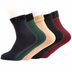 Thermal Soft Faux Fur Women Winter Warm Thumb Socks 5 Pairs