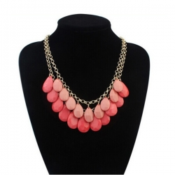 Oval Beads Bohemian Sweet Drops Double Layer Necklace