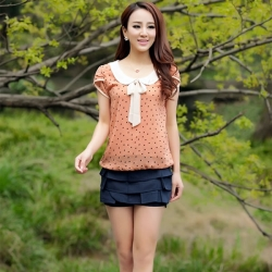 Chiffon Dot Doll Collar Short Sleeve Tops