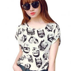 Casual Chiffon Batwing Head Print Tops