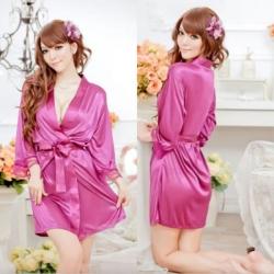 Sexy Front Open Satin Sleepwear