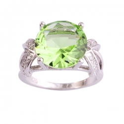 Charming Green Tourmaline & White CZ Silver Ring