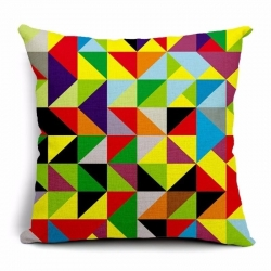 Triangle Geometric Pattern Jute Cushion Covers