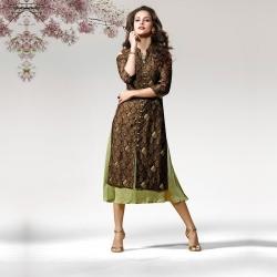 Shoulder Cut Silk Crape Designer Kurta