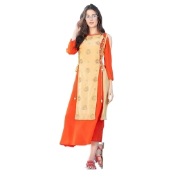 Daffodil Orange Shoulder Cut Georgette Embroidered Kurta