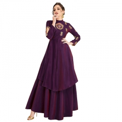 Littledesire Soft Silk Embroidered  Designer Long Kurta