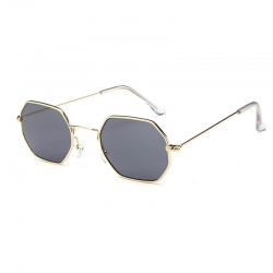 Classic Hexagon Shape Metal Frame Unisex Sunglasses UV400