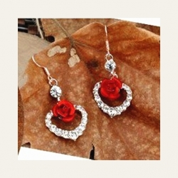 Littledesire Heart Shape Red Rose Crystal Earrings