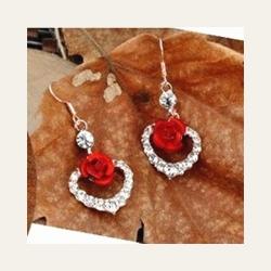 Littledesire Heart Shape Red Rose Crystal Earrings