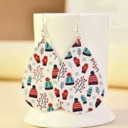 Water Drop Shape Christmas Dangle Earrings