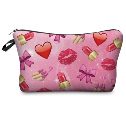Littledesire Lip & Heart Printed Zipper Bag