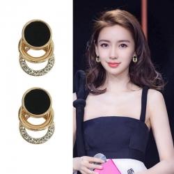 Fashion Round Circle Charm Rhinestone Stud Earrings