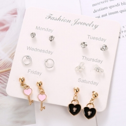 Cute Crystal Key Heart Stud Earrings 6 pcs Set