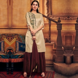 Littledesire Embroidered Straight Kurta With Sharara & Dupatta
