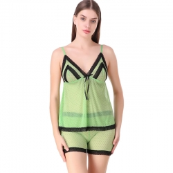 V-Neck Shoulder-Straps Net Sleepwear