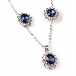 Fashion Jewellery Blue Crystal Stone Necklace Earrings Set