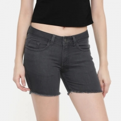 Mid-Rise Grey Denim Shorts With Frayed Hems