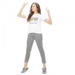 Printed Top & Striped Pants Night Suit Set