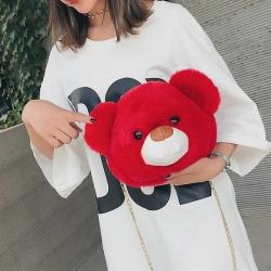 Cute Teddy Bear Soft Fluffy Sling Bag for Girls
