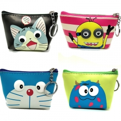 Printed Cartoon Zipper Mini Coin Wallet With Key Ring- 4 Pcs Lot