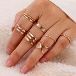 8 Pcs/Set Vintage Ring Geometric Metal Charm Joint Ring Sets