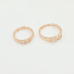 Rose Gold Cubic Zirconia Ring 2 Pc