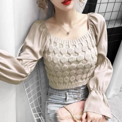 Solid Knit Slim Fit Crop Sweater Top for Women Free Size upto L