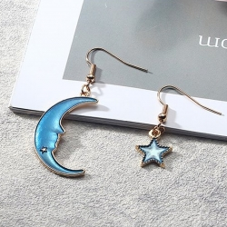 Moon Blue Star Dangle Drop Earrings