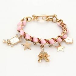 Stars Flowers Poker Cord Tassels Paris Charm Crystal Bracelet