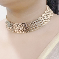 Delicate Design Multi Layered Gold Plated Plushy Necklace