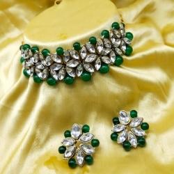 Stylish Kundan Traditional Green Choker Set