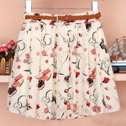 Chiffon Pleated Printed Skirts  Heart Waist 26 to 32