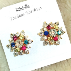 Spherical Crystal Flower Stud
