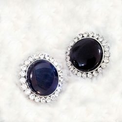 Big Size Black Round Zirconia Diamond Earring