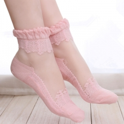 Ultra-thin Transparent Lace Short Socks - 2 Pairs