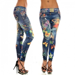 Slim Skinny Tight Print Seamless Stretch Leggings