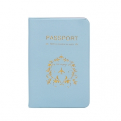 Blue PU Leather Passport or ID Card Cover Holder (Be Eco Traveler for Earth)