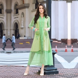 Emerald Mint Mix Layer Pocket Georgette Kurti