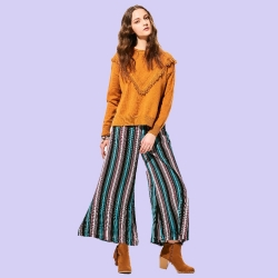 Stripe Loose Long Wide Legs Pants