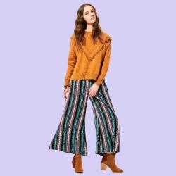 Stripe Loose Long Wide Legs Pants