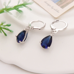 Royal Blue Austria Crystal Silver Clip Dangle Earrings