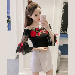 Littledesire Flower Embroidery Flare Sleeve Lace Top