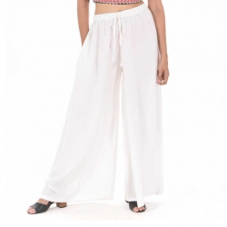 Littledesire White Straight Palazzo With Side Pocket