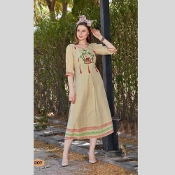 Littledesire Beige Embroidered Full Stitched Kurta
