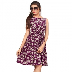 Littledesire Boat Neck Floral Print Purple Crepe Dress