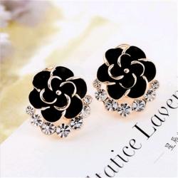 Littledesire Black Flower Crystal Stud Earrings
