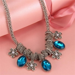 Littledesire Fashion Crystal Rhinestone Pearl Drop Beads Statement Necklace