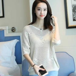 Littledesire V-Neck Half Sleeve Mesh Loose Pearl Sweater Top