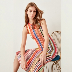 Littledesire Striped Printed Boat Neck Sleeveless Dress